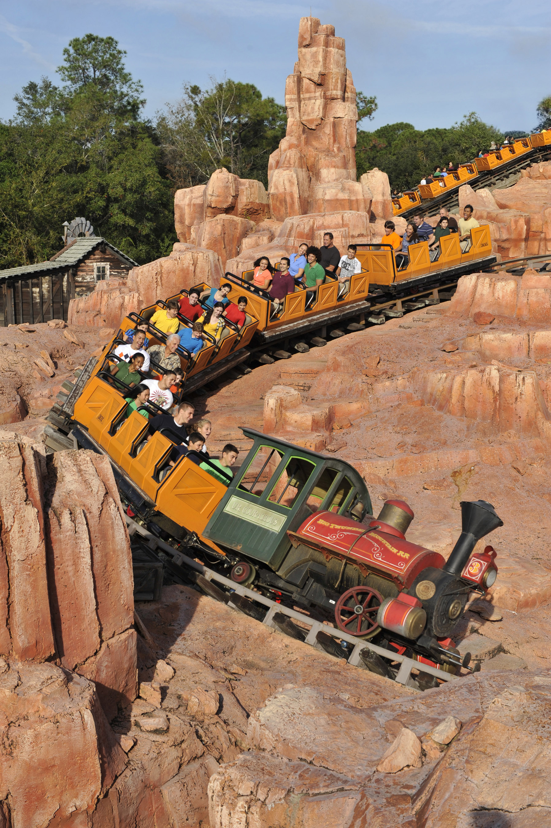 Big Thunder Mountain Railroad takes Magic Kingdom guests on a wild ride in a runaway train through an abandoned gold mine in Frontierland. Magic Kingdom is located at Walt Disney World Resort in Lake Buena Vista, Fla. (Garth Vaughan, photographer)